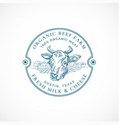 Beef and milk farm badge or logo template hand vector