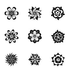 Black flower icon set simple style vector