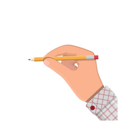 Black pencil with rubber eraser in hand vector