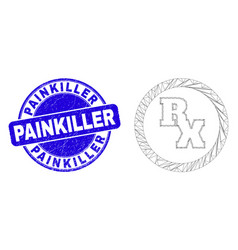 Blue scratched painkiller stamp and web carcass rx vector