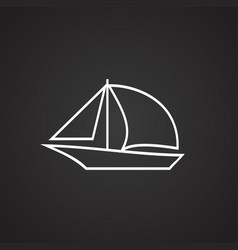 Boat with sail thin line on black background vector