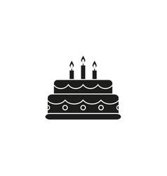 Cake birthday black icon vector