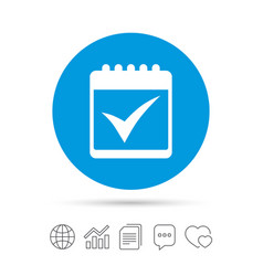 Calendar sign icon check mark symbol vector