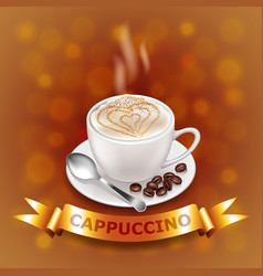 Cappuccino on coffee-colored background with gold vector