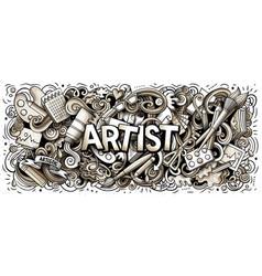 Cartoon cute toned doodles artist word vector
