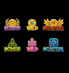 Celtic icons wild bonus and scatter vector