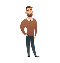 character man in shirt and sweater vector image