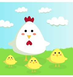Chicken and chicks in Sunshiny Field vector