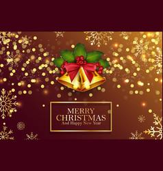 christmas background golden bells and berries vector image