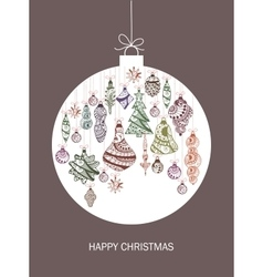 christmas card with ball and decorations vector image
