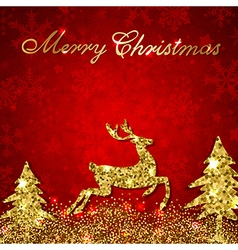 Christmas red background with golden deer vector