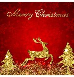 Christmas red background with golden deer vector