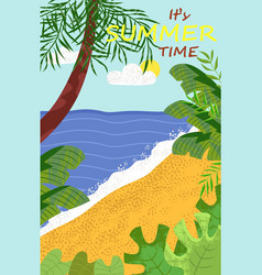 coast and ocean view palm tree summer vector image