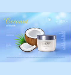 coconut cream advertising premium ads skincream vector image