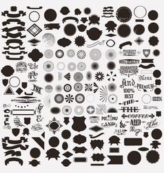 collection or set shapes sunbursts for labels vector image