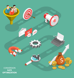 Conversion rate optimization flat isometric vector