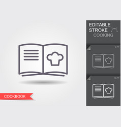 cooking book line icon with editable stroke with vector image