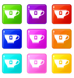 Cup with teabag icons 9 set vector