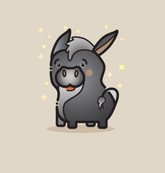 Cute donkey isolated on gray backgroun vector