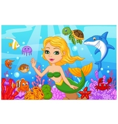 Cute mermaid cartoon with fish collection set vector