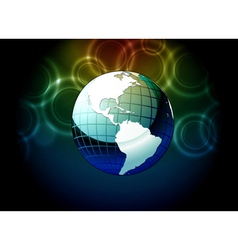 Earth globe with bokeh background vector