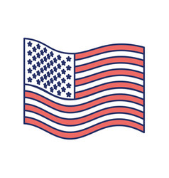 flag united states of america wave flat icon color vector image
