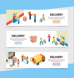 flat delivery service horizontal banners vector image