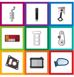 flat icon auto set of auto component packing vector image
