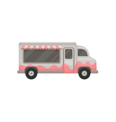 flat icon of food truck small gray van vector image