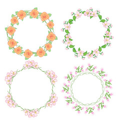 flowers in wreath - round floral frames vector image