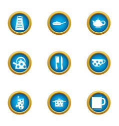 Galley icons set flat style vector