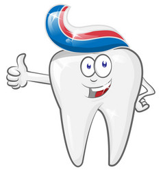 glad strong cheerful cartoon tooth character vector image
