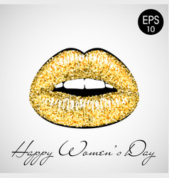golden lips 8 march vector image