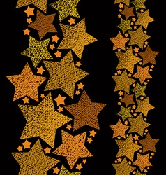 Golden stars seamless pattern vertical composition vector image