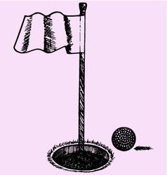 Golf ball flag vector image