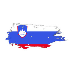 grunge brush stroke with slovenia national flag vector image