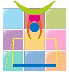 Gymnastics on bar in colors vector