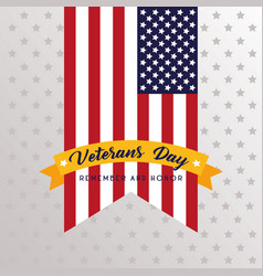 Happy veterans day lettering with usa flag and vector