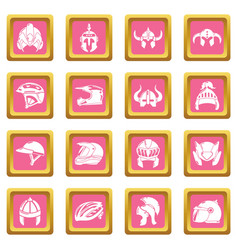 Helmet icons set pink square vector
