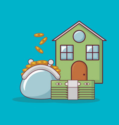 house and money related icons vector image