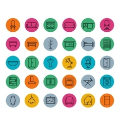 House furniture colorful linear icons set vector