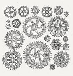 Industrial set of mechanical metal vector