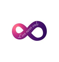 Infinity love symbol love never ends text for vector