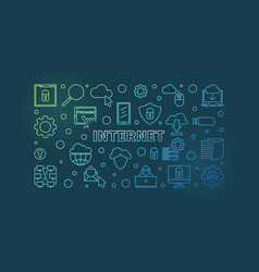 internet concept outline colorful vector image