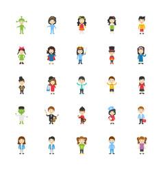 kids cartoon characters flat icons set vector image