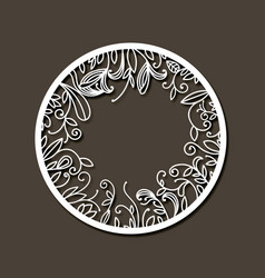 Laser cutting abstract round frame with internal vector