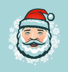 laughing santa claus in hat christmas vector image
