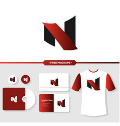 letter n logo branding with stationery mockup vector image