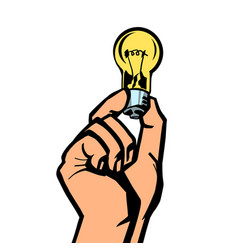 light bulb in hand vector image