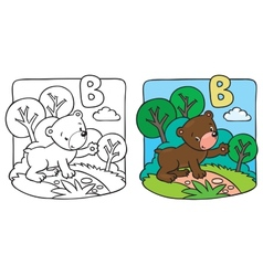 Little teddy bear coloring book alphabet b vector